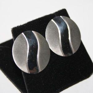 Sterling silver Circle pierced earrings